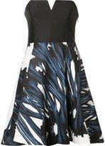 Halston strapless flared dress - women - Polyester/Nylon/Spandex/Elastane - 2