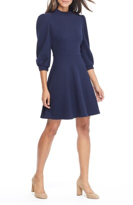 Gal Meets Glam Maggie Texture Knit Fit & Flare Dress