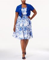 R & M Richards Plus Size Belted Printed Dress and Jacket