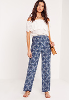Missguided Moroccan Print Wide Leg Trousers Blue