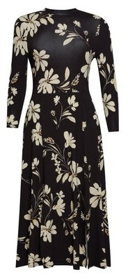 Dorothy Perkins Womens Camel Floral Print Split Midi Skater Dress