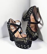 Miss L Fire Black Suede & Gold Studs Platform Peep Toe Selina Heels Shoes