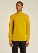 Thumbnail for your product : Paul Smith Men's Yellow Zebra Logo Cotton Zip-Neck Sweater