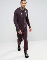 Asos Onesie In Burgundy