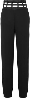 Giorgio Armani Cutout Satin-trimmed Silk-crepe Straight-leg Pants