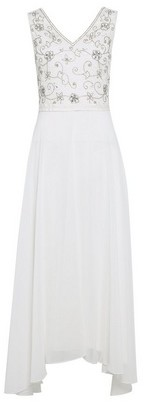 Womens Showcase Ivory Embellished Bridal Eva Midi Dress, Ivory