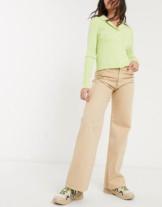 Monki Yoko wide leg organic cotton jeans in beige