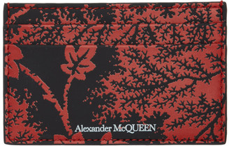 Alexander McQueen Black and Red Ivy Print Card Holder
