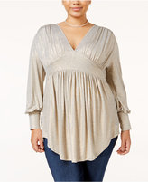 Melissa McCarthy Trendy Plus Size Metallic Shirred Top