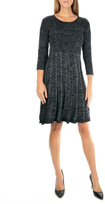 Nina Leonard Pleated Scoop Neck Dress