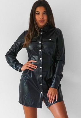 Missguided Faux Leather Pleated Waist Mini Shirt Dress