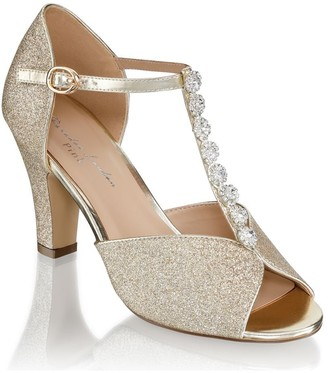 Paradox London Rosie Champagne Low Heel T-Bar Peep Toe Shoes