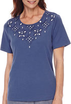 Alfred Dunner St. Augustine Short-Sleeve Cutout Yoke Top