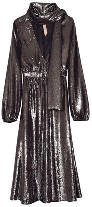 No.21 Shimmer Scarf V-Neck Dress in Metallic