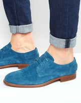 Asos Derby Shoes In Relaxed Blue Suede