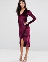 Club L Deep V Asymmetric Wrap Over Midi Dress In Velvet