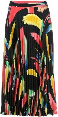 Milly Brushstroke Print Midi Skirt