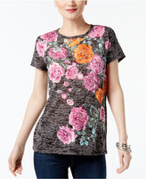 INC International Concepts Floral-Print Burnout T-Shirt, Only at Macy's