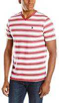 U.S. Polo Assn. Men's Short Sleeve Shadow Stripe V-Neck T-Shirt