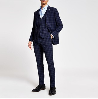 River Island Check Skinny Fit Suit Trousers - Blue