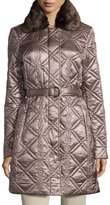Via Spiga Quilted Jacket with Faux-Fur Collar, Sahara