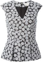 MICHAEL Michael Kors leaf pattern V-neck top - women - Cotton/Polyester/Spandex/Elastane - 4