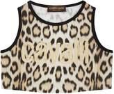 Roberto Cavalli Leopard Print Crop Top, Beige, 7 Years