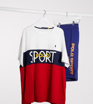 Polo Ralph Lauren Big & Tall sport capsule colourblock logo t-shirt in white/navy/red
