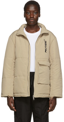 BEIGE Polythene* Optics Puffa Coat