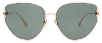 Christian Dior Diorgypsy1 Cat-eye Metal Sunglasses - Green