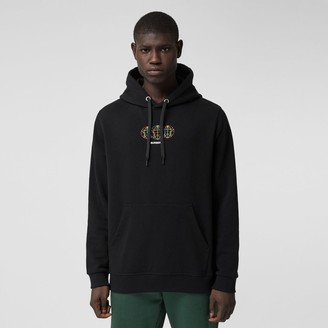 Burberry Embroidered Globe Graphic Cotton Hoodie