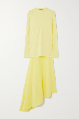 Maggie Marilyn Net Sustain I'm All In Ribbed-knit And Satin-crepe Dress - Yellow