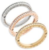 Michael Kors Tri-Toned Stacking Pave Rings