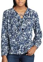 Chaps Women's Floral Ruffled Peasant Top