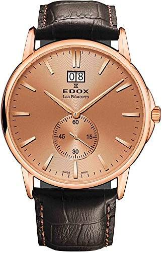 Edox Men's 64012 37R ROIR Les Bemonts Analog Display Swiss Quartz Brown Watch