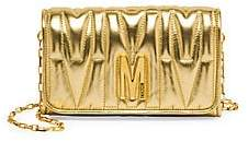 Moschino Women's Embossed Metallic Leather Wallet-On-Chain