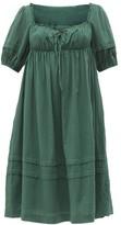 Loup Charmant Ottranto Puff-sleeve Cotton Dress - Womens - Green