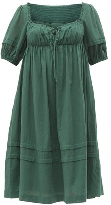 Loup Charmant Ottranto Puff-sleeve Cotton Dress - Womens - Green