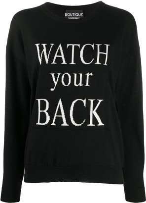 Boutique Moschino Slogan Knit Jumper