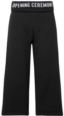Opening Ceremony Cropped Monogram-trimmed French Cotton-terry Wide-leg Pants