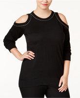 MICHAEL Michael Kors Size Embellished Cold-Shoulder Sweater
