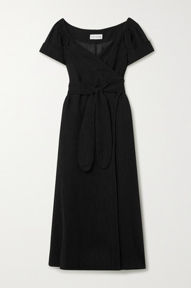 Mara Hoffman Net Sustain Adelina Crinkled Organic Linen And Cotton-blend Gauze Wrap Maxi Dress - Black