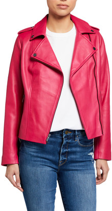 Neiman Marcus Leather Collection Zip-Front Leather Moto Jacket