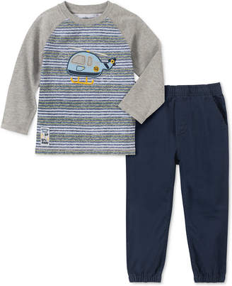Kids Headquarters Toddler Boys 2-Pc. Stripe Helicopter Applique T-Shirt & Twill Joggers Set