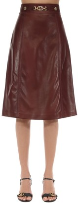 Gucci Leather Skirt W/ Gg Buckle