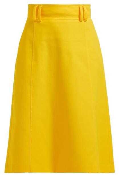 Carolina Herrera High Rise Twill Midi Skirt - Womens - Yellow
