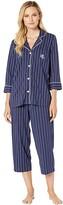 Lauren Ralph Lauren Essentials Bingham Knits Capri PJ Set (Navy Stripe) Women's Pajama Sets