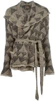 Vivienne Westwood wide lapel belted cardigan - women - Cotton/Acrylic/Wool - One Size