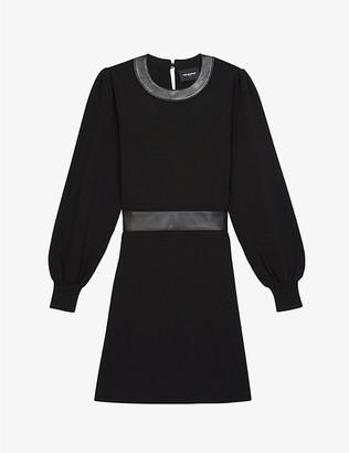 The Kooples Leather-trim woven mini dress
