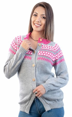 INTI ALPACA Light Gray Cardigan Sweater for Women - Knit in Soft Alpaca Wool (Small)